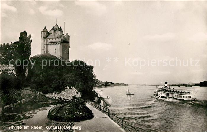 AK / Ansichtskarte Eltville Rhein Kurfuerstliche Burg Rheinfaehre Kat. Eltville am Rhein
