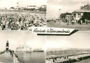 AK / Ansichtskarte Rostock Warnemuende Leuchtturm Gaststaette Teepott HO Gaststaette Kurhaus Strand Kat. Rostock