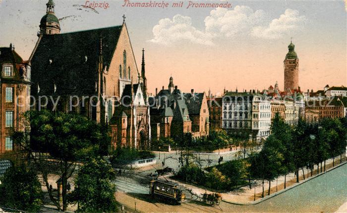 AK / Ansichtskarte Leipzig Thomaskirche mit Promenade Kat. Leipzig
