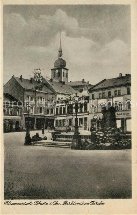 AK / Ansichtskarte Sebnitz Markt mit Kirche Brunnen Kat. Sebnitz