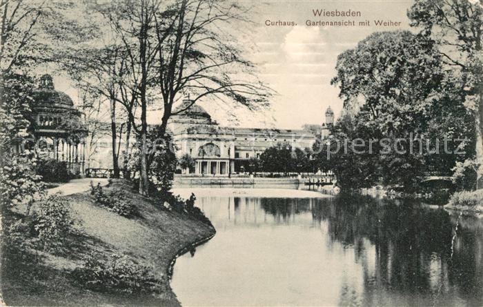 Ak Ansichtskarte Wiesbaden Kurhaus Garten Weiher Kat Wiesbaden Nr