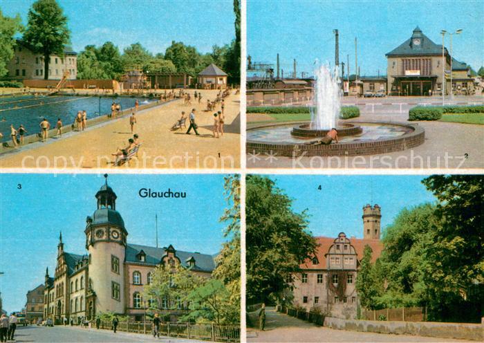 AK / Ansichtskarte Glauchau Sommerbad Bahnhof Hauptpostamt Schloss Forderglauchau Kat. Glauchau