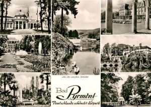 AK / Ansichtskarte Bad Pyrmont Kurpark hyllige Born Kurhaus Palmengarten Erdbeertempel Kat. Bad Pyrmont
