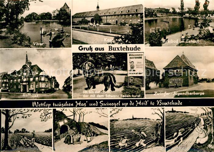 AK / Ansichtskarte Buxtehude Viver Freibad Estetal Rathaus Jugendherberge Zwinger  Kat. Buxtehude