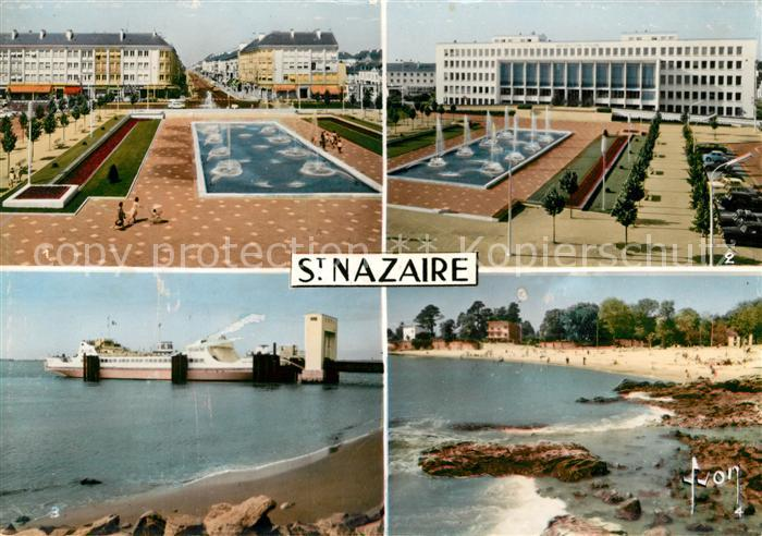 AK / Ansichtskarte Saint Nazaire Loire Atlantique Place de Hotel de Ville et avenue de la Republique Hotel de Ville Le bac La plage Kat. Saint Nazaire
