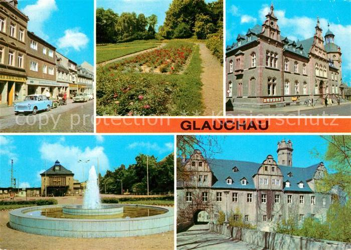 AK / Ansichtskarte Glauchau Rosarium Postamt Schloss Kat. Glauchau