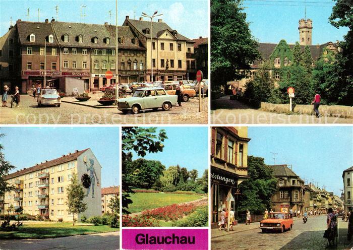 AK / Ansichtskarte Glauchau Markt Schloss Forderglauchau Rosarium Kat. Glauchau
