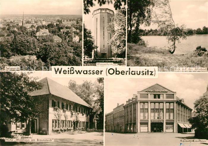 AK / Ansichtskarte Weisswasser Oberlausitz Teilansicht Wasserturm Jahnbad HOG Waldhaus am Braunsteich Konsum Kaufhaus Kat. Weisswasser