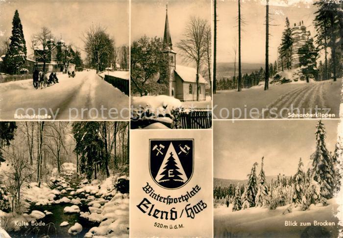 AK / Ansichtskarte Elend Harz Bahnhofstrasse Kalte Bode Schnarcherklippen Brocken Winter Kat. Elend Harz