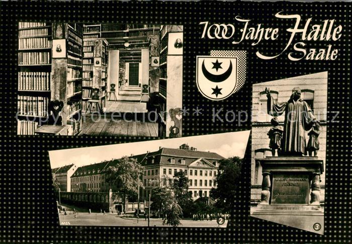 AK / Ansichtskarte Halle Saale Hauptbibliothek der Franckeschen Stiftungen Francke Denkmal Kat. Halle