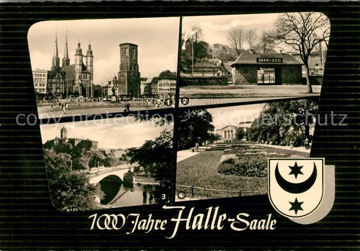 AK / Ansichtskarte Halle Saale Marktplatz Zoo Eingang Burg Giebichenstein mit Giebichensteinbruecke Theater des Friedens Kat. Halle