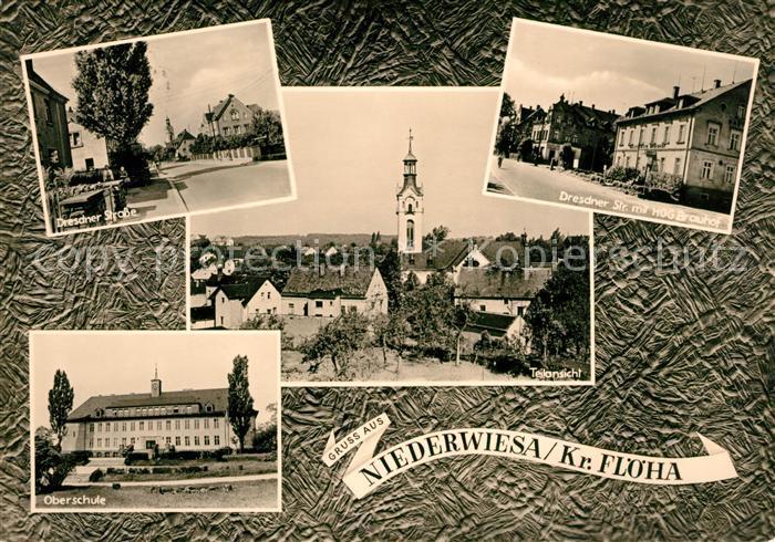 AK / Ansichtskarte Niederwiesa Dresdner Strasse HOG Brauhof Oberschule Teilansicht Kat. Niederwiesa