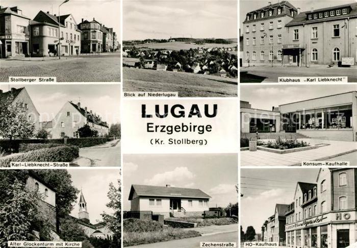 AK / Ansichtskarte Lugau Erzgebirge Stollberger Strasse Niederlugau Klubhaus Konsum Kaufhalle Kat. Lugau Erzgebirge