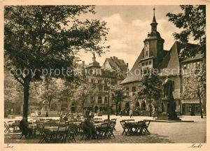AK / Ansichtskarte Jena Thueringen Marktplatz mit Hanfried Denkmal Strassencafe