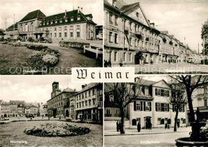 AK / Ansichtskarte Weimar Thueringen Hauptbahnhof Goetheplatz Marktplatz Schillerhaus Kat. Weimar