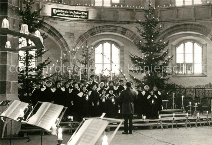 AK / Ansichtskarte Schneeberg Erzgebirge Kurrendesingen in der St Wolfgangs Kirche zur Weihnachtszeit Kat. Schneeberg