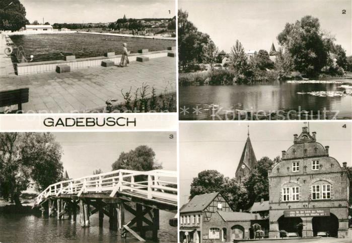 AK / Ansichtskarte Gadebusch Stadtbad Borgsee Seebruecke Rathaus Kat. Gadebusch
