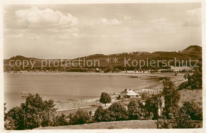 AK / Ansichtskarte Wartenberg Rollberg Tschechien See mit Strandbad Kat. Straz pod Ralskem