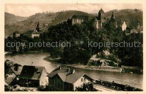 AK / Ansichtskarte Elbogen Tschechien Teilansicht mit Schloss an der Eger Eisenbahn Kat. Loket