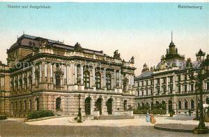 AK / Ansichtskarte Reichenberg Liberec Theater und Postgebaeude