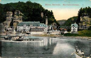 AK / Ansichtskarte Herrnskretschen Tschechien Boehmen Raddampfer auf der Elbe Hotel Felsen Boehmische Schweiz Kat. Hrensko