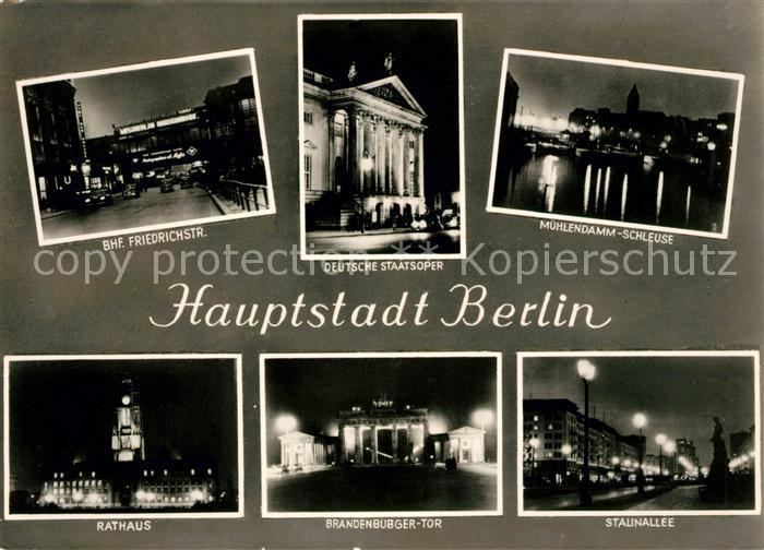 AK / Ansichtskarte Berlin Bahnhof Friedrichstrasse Deutsche Staatsoper Rathaus Stalinallee Kat. Berlin