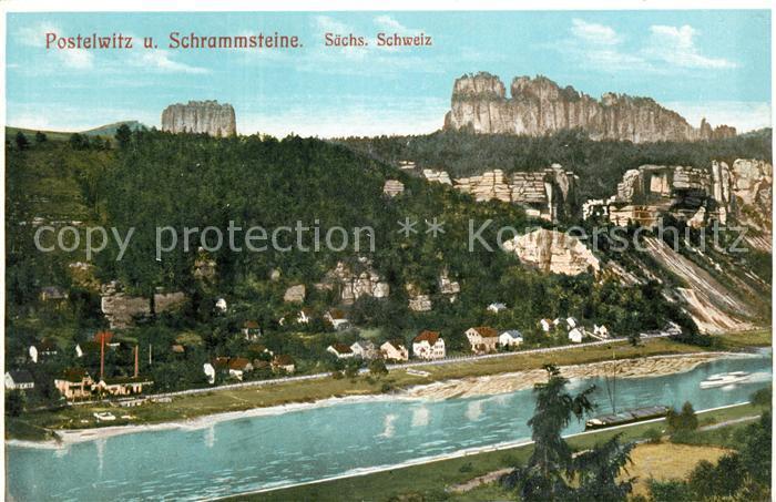 AK / Ansichtskarte Postelwitz Blick ueber die Elbe mit Schrammsteine Elbsandsteingebirge Kat. Bad Schandau