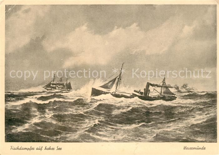 AK / Ansichtskarte Wesermuende Fischdampfer auf hoher See Kat. Bremerhaven