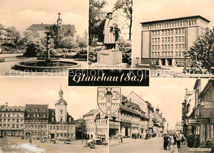 AK / Ansichtskarte Glauchau Bahnhofsplatz Ingenieurschule fuer Bauwesen Markt Rathaus  Kat. Glauchau