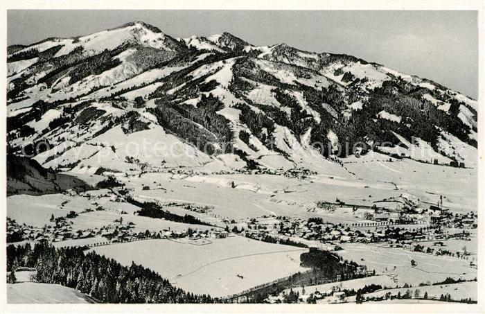 AK / Ansichtskarte Pfronten Gesamtansicht Wintersportplatz mit Edelsberg Allgaeuer Alpen Fliegeraufnahme Kat. Pfronten