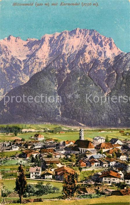AK / Ansichtskarte Mittenwald Bayern Panorama Blick gegen Karwendel Kat. Mittenwald