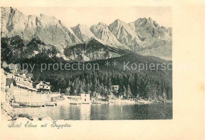 AK / Ansichtskarte Eibsee Hotel Eibsee mit Zugspitze Wettersteingebirge Kat. Grainau