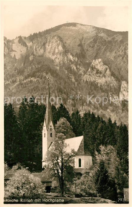 AK / Ansichtskarte Raiten Kirch mit Blick zur Hochplatte Kat. Schleching