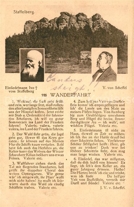AK / Ansichtskarte Staffelberg Einsiedelmann Ivo vom Staffelberg Gedicht Wanderfahrt von Scheffel Portrait Kat. Bad Staffelstein
