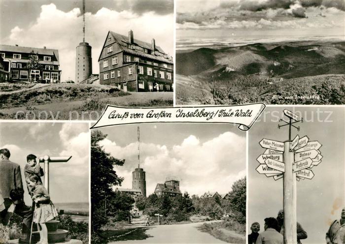 AK / Ansichtskarte Inselsberg Schmalkalden Gaststaette Aussichtsturm Wegweiser  Kat. Schmalkalden