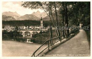 AK / Ansichtskarte Traunstein Oberbayern mit Watzmann und Hochkalter Kat. Traunstein