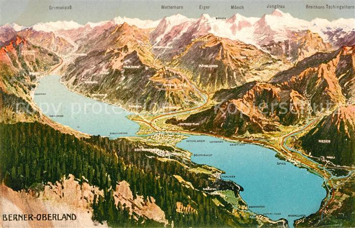 AK / Ansichtskarte Berner Oberland Panoramakarte Kat. Grindelwald