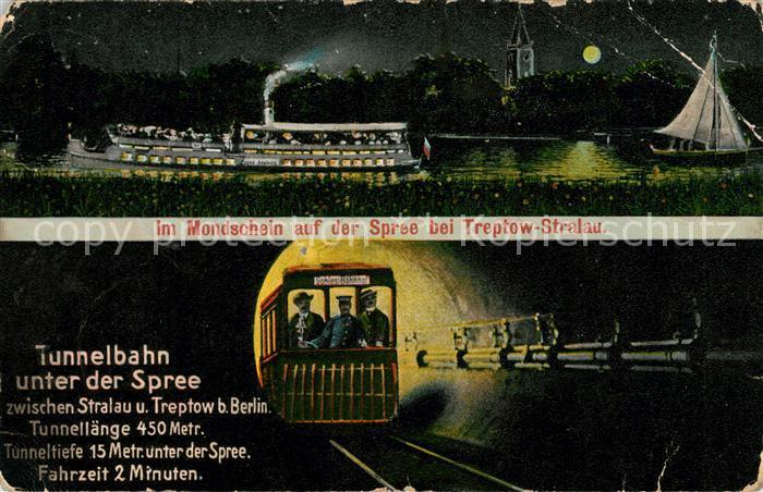 AK / Ansichtskarte Stralau Strahlow Im Mondschein auf der Spree Tunnelbahn Kat. Berlin