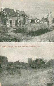 AK / Ansichtskarte La Ville aux Bois Bauerngehoefte vor und nach dem Trommelfeuer 1. Weltkrieg Nr 127 Kat. La Ville aux Bois