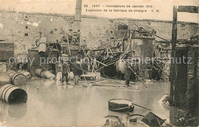 AK / Ansichtskarte Ivry sur Seine Inondations de Janvier 1910 Explosion fabrique Hochwasser Katastrophe Kat. Ivry sur Seine