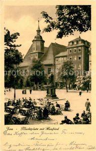 AK / Ansichtskarte Jena Thueringen Marktplatz mit Hanfried Denkmal