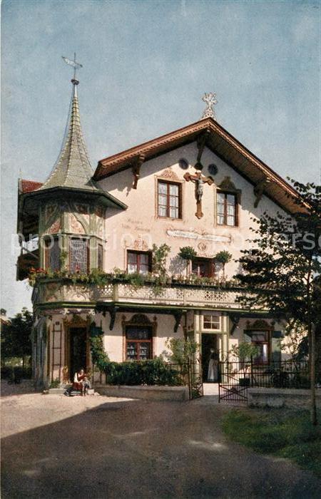 ak ansichtskarte oberammergau stammhaus des schnitzerei verlages lang sel erben. Black Bedroom Furniture Sets. Home Design Ideas