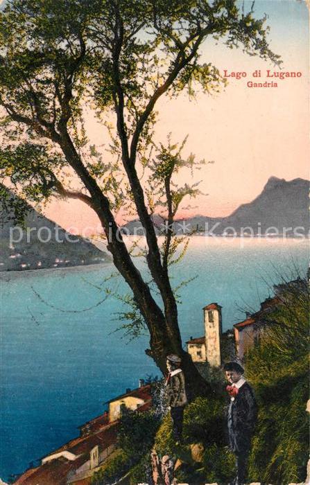 AK / Ansichtskarte Gandria Lago di Lugano Panorama Blick ueber den Luganer See Briefstempel Kaiserliche Marine Kat. Gandria