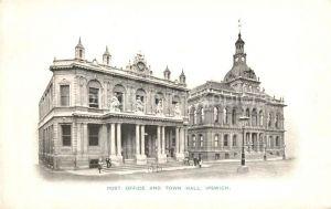 AK / Ansichtskarte Ipswich Post Office and Town Hall Kat. Ipswich