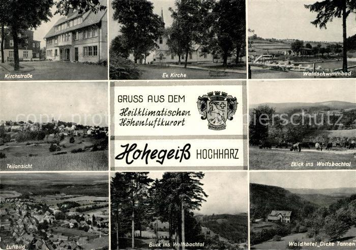 AK / Ansichtskarte Hohegeiss Harz Kirchstrasse Kirche Waldschwimmbad Waldhotel Dicke Tannen Kat. Braunlage