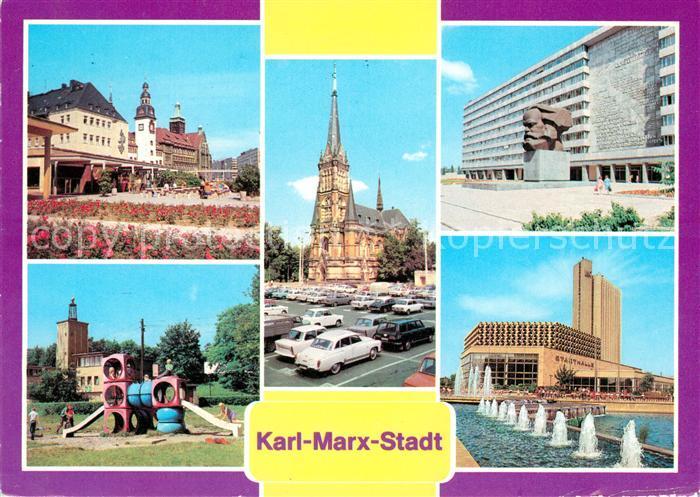 AK / Ansichtskarte Karl Marx Stadt Rosenhof Rathaus Theaterplatz Karl Marx Monument Stadthalle Interhotel Kongress Kat. Chemnitz