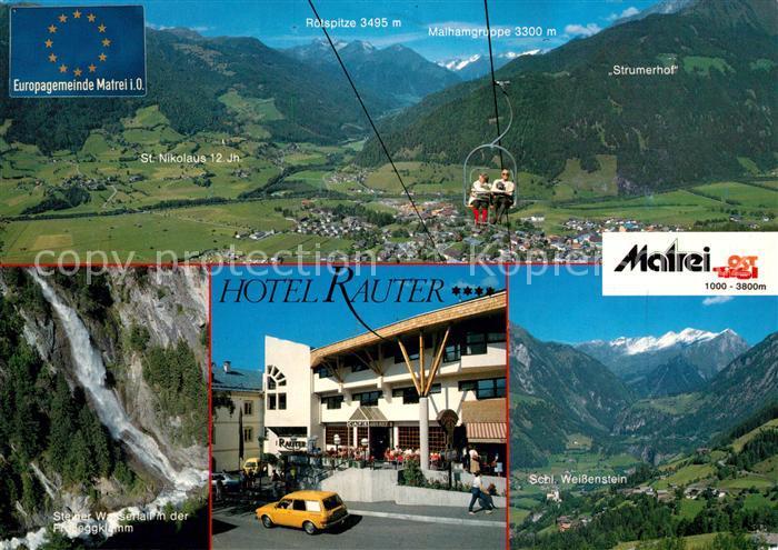 AK / Ansichtskarte Matrei Osttirol Panorama Hotel Rauter Steiner Wasserfall Schloss Weissenstein Kat. Matrei in Osttirol