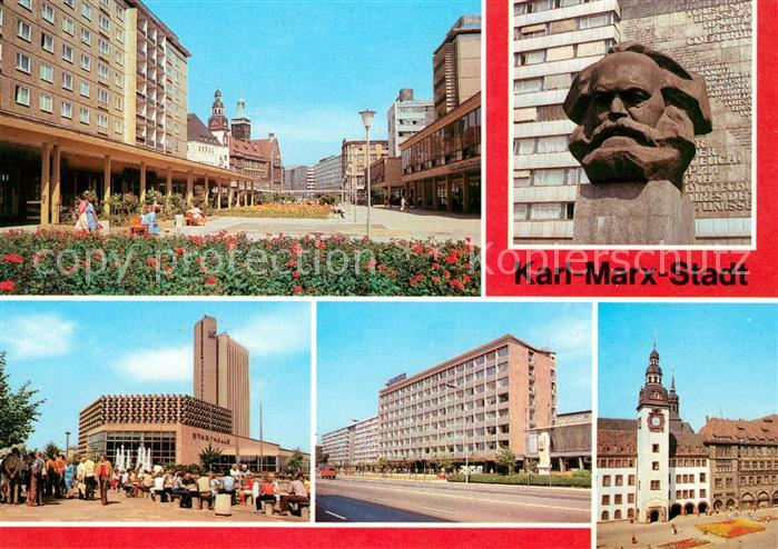 AK / Ansichtskarte Karl Marx Stadt Rosenhof Karl Marx Monument Stadthalle Interhotel Karl Marx Allee Kongress Rathaus Kat. Chemnitz