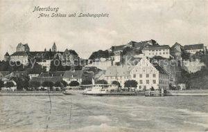 AK / Ansichtskarte Meersburg Bodensee Altes Schloss und Landungsplatz Dampfer Kat. Meersburg