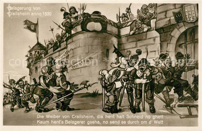 AK / Ansichtskarte Crailsheim Belagerung anno 1830 Karikatur Kat. Crailsheim